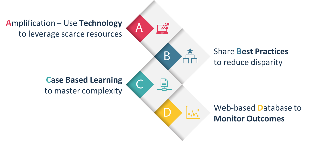 Four principles of the ECHO Model: Technology, Best Practices, Case Based Learning, Monitor Outcomes
